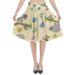 Sloth Neutral Color Cute Cartoon Flared Midi Skirt by HermanTelo