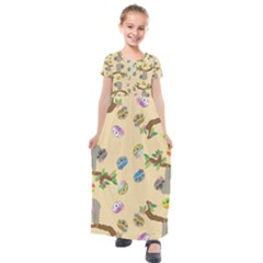 Sloth Neutral Color Cute Cartoon Kids  Short Sleeve Maxi Dress by HermanTelo
