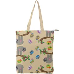Sloth Neutral Color Cute Cartoon Double Zip Up Tote Bag