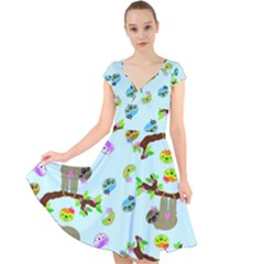 Sloth Aqua Blue Cute Cartoon Tile Green Cap Sleeve Front Wrap Midi Dress