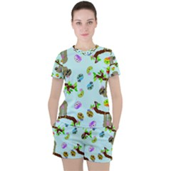 Sloth Aqua Blue Cute Cartoon Tile Green Women s Tee And Shorts Set