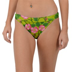 Roses Flowers Pattern Bud Pink Band Bikini Bottom