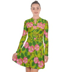 Roses Flowers Pattern Bud Pink Long Sleeve Panel Dress by HermanTelo