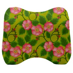 Roses Flowers Pattern Bud Pink Velour Head Support Cushion