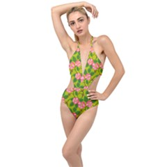 Roses Flowers Pattern Bud Pink Plunging Cut Out Swimsuit