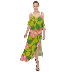 Roses Flowers Pattern Bud Pink Maxi Chiffon Cover Up Dress