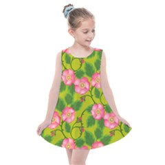 Roses Flowers Pattern Bud Pink Kids  Summer Dress by HermanTelo