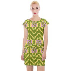 Texture Nature Erica Cap Sleeve Bodycon Dress by HermanTelo