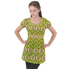 Texture Nature Erica Puff Sleeve Tunic Top