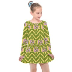 Texture Nature Erica Kids  Long Sleeve Dress by HermanTelo