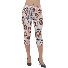 Modern Floral Pattern Lightweight Velour Capri Leggings  by tarastyle