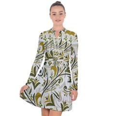 Modern Floral Pattern Long Sleeve Panel Dress by tarastyle
