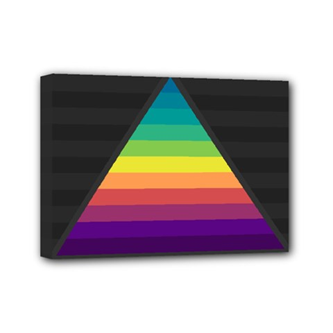 Background Rainbow Stripes Bright Mini Canvas 7  X 5  (stretched) by Pakrebo