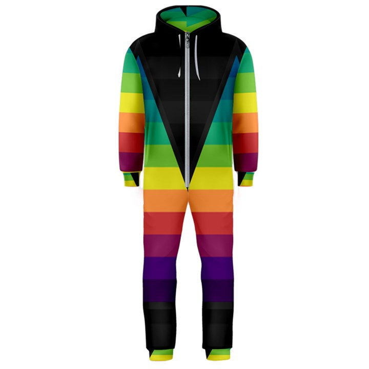 Background Rainbow Stripes Bright Hooded Jumpsuit (Men)