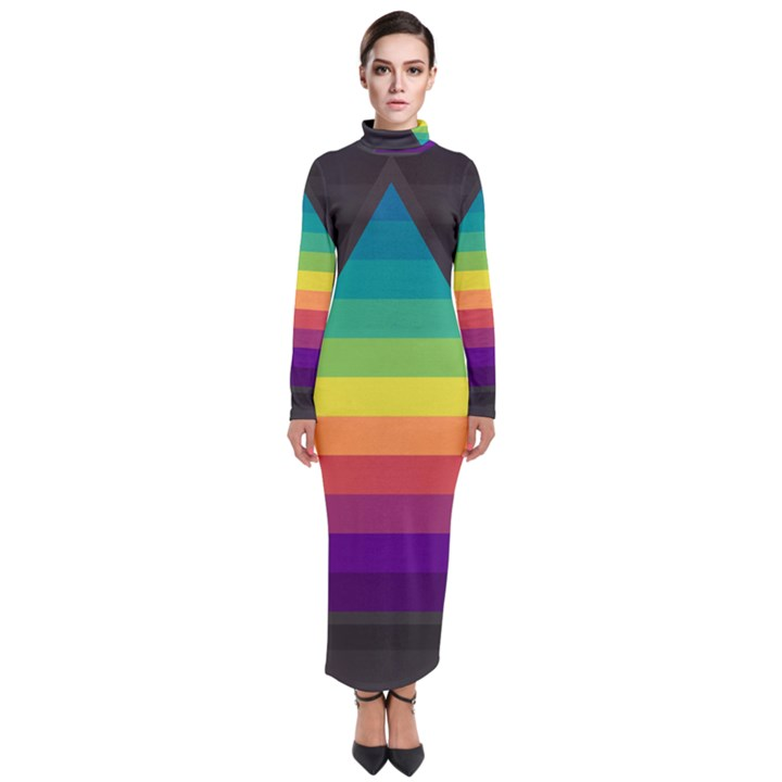 Background Rainbow Stripes Bright Turtleneck Maxi Dress