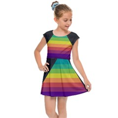 Background Rainbow Stripes Bright Kids  Cap Sleeve Dress