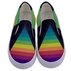 Background Rainbow Stripes Bright Kids  Canvas Slip Ons