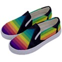 Background Rainbow Stripes Bright Kids  Canvas Slip Ons View2