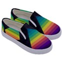 Background Rainbow Stripes Bright Kids  Canvas Slip Ons View3
