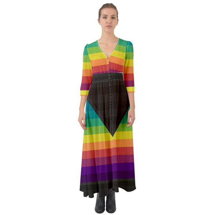 Background Rainbow Stripes Bright Button Up Boho Maxi Dress