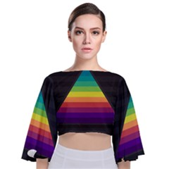Background Rainbow Stripes Bright Tie Back Butterfly Sleeve Chiffon Top