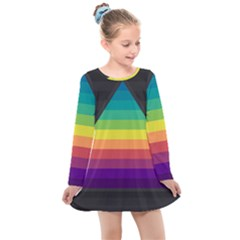 Background Rainbow Stripes Bright Kids  Long Sleeve Dress by Pakrebo
