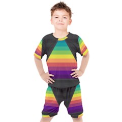 Background Rainbow Stripes Bright Kids  Tee And Shorts Set