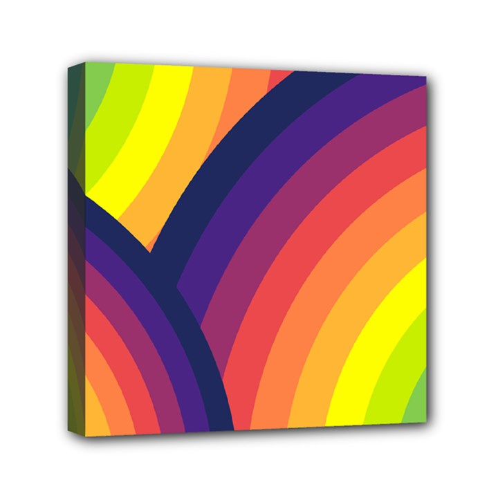 Background Rainbow Colors Colorful Mini Canvas 6  x 6  (Stretched)
