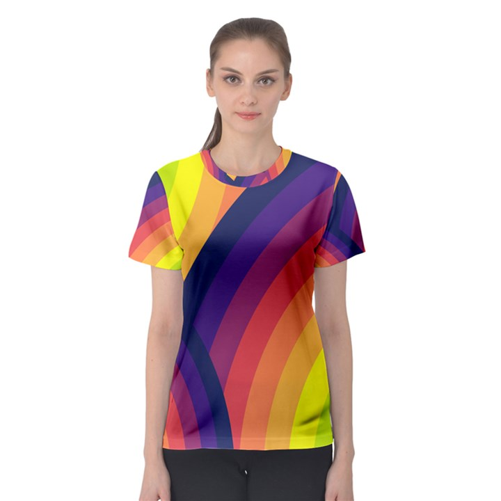 Background Rainbow Colors Colorful Women s Sport Mesh Tee