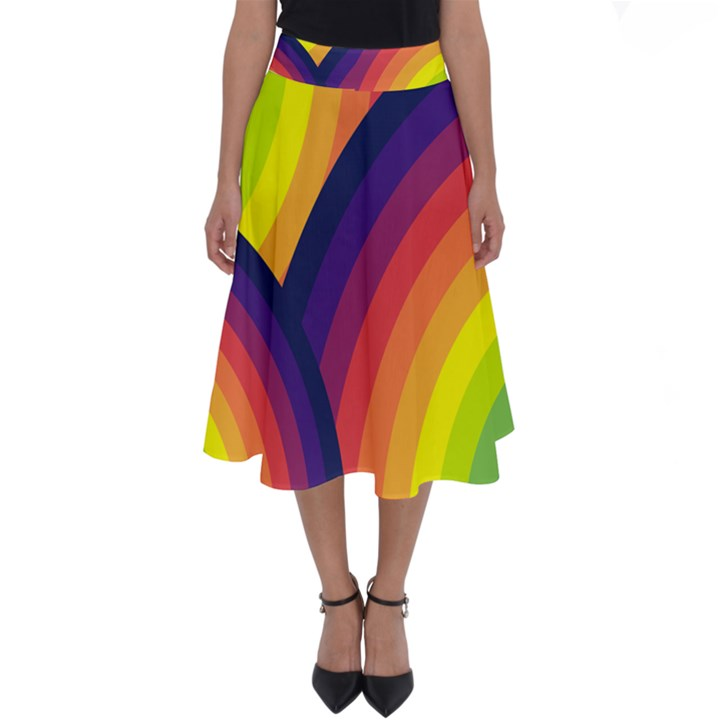 Background Rainbow Colors Colorful Perfect Length Midi Skirt