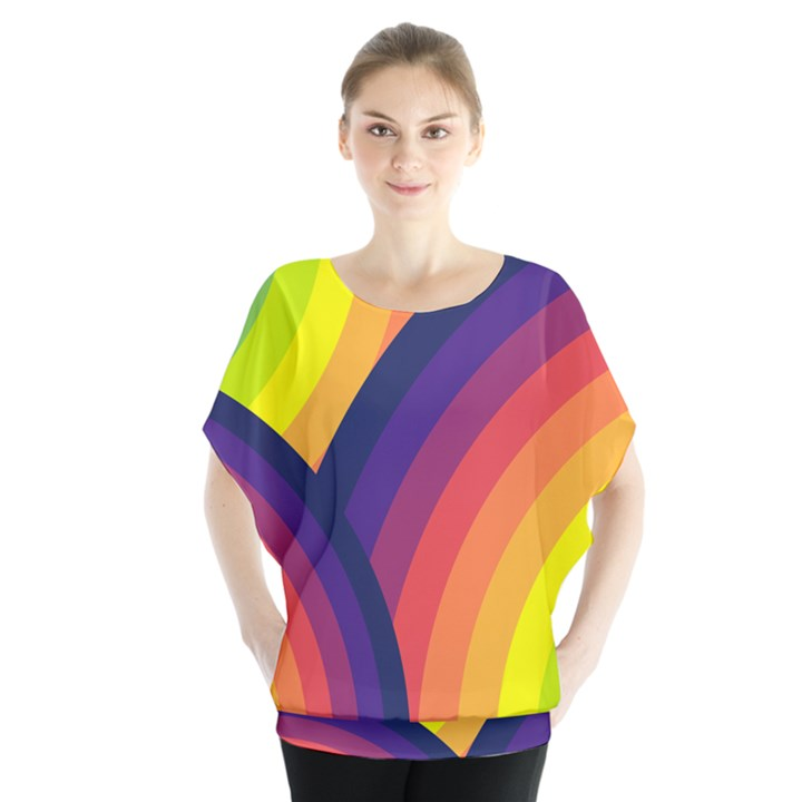 Background Rainbow Colors Colorful Batwing Chiffon Blouse