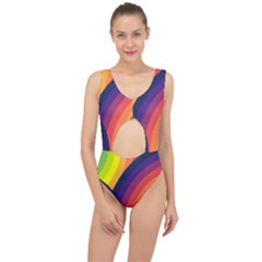Background Rainbow Colors Colorful Center Cut Out Swimsuit