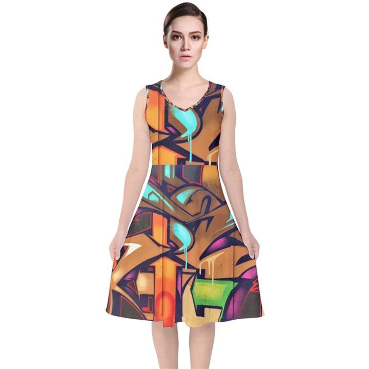 Graffiti Mural Street Art Wall Art V-Neck Midi Sleeveless Dress