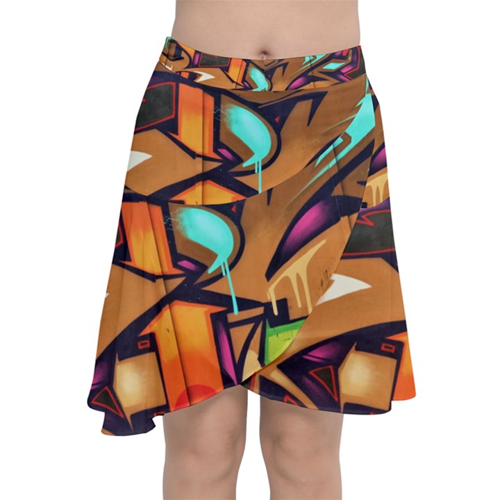 Graffiti Mural Street Art Wall Art Chiffon Wrap Front Skirt