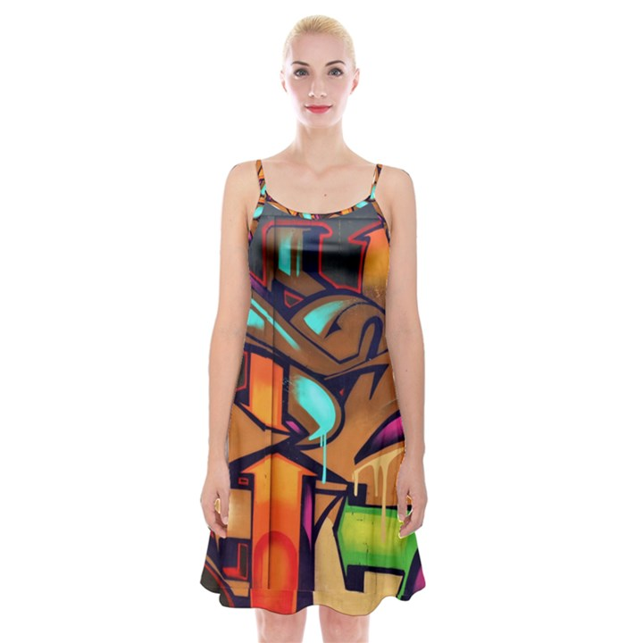 Graffiti Mural Street Art Wall Art Spaghetti Strap Velvet Dress