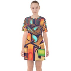 Graffiti Mural Street Art Wall Art Sixties Short Sleeve Mini Dress