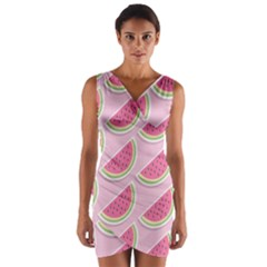 Melons Pattern Food Fruits Melon Wrap Front Bodycon Dress