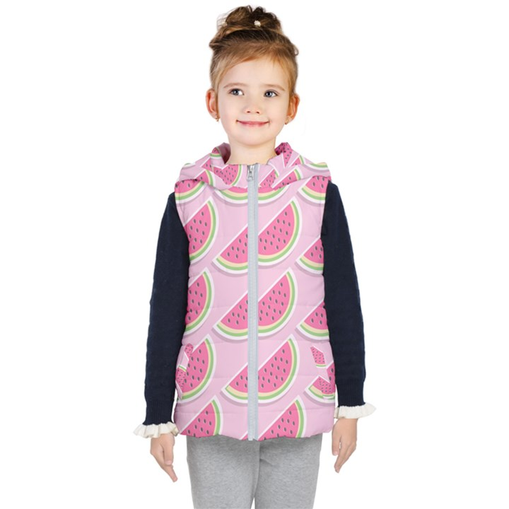 Melons Pattern Food Fruits Melon Kids  Hooded Puffer Vest