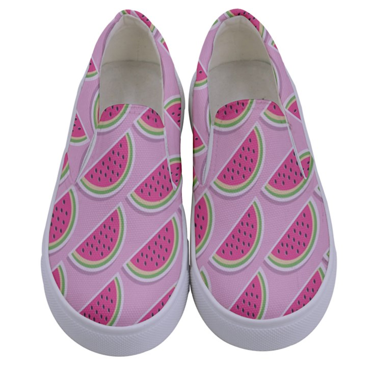 Melons Pattern Food Fruits Melon Kids  Canvas Slip Ons
