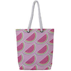 Melons Pattern Food Fruits Melon Full Print Rope Handle Tote (small)
