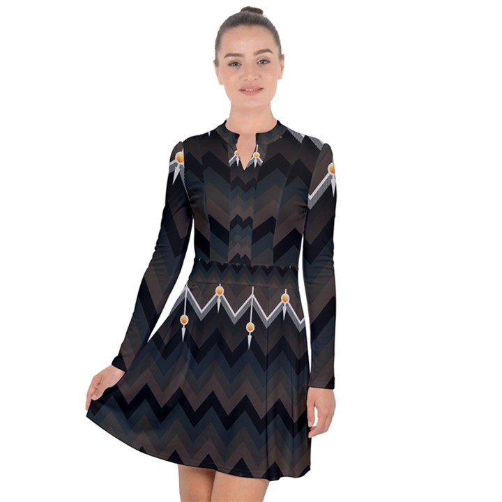 Background Pattern Non Seamless Long Sleeve Panel Dress