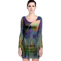Mountains Abstract Mountain Range Long Sleeve Bodycon Dress