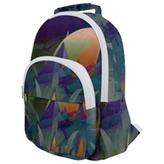 Mountains Abstract Mountain Range Rounded Multi Pocket Backpack
