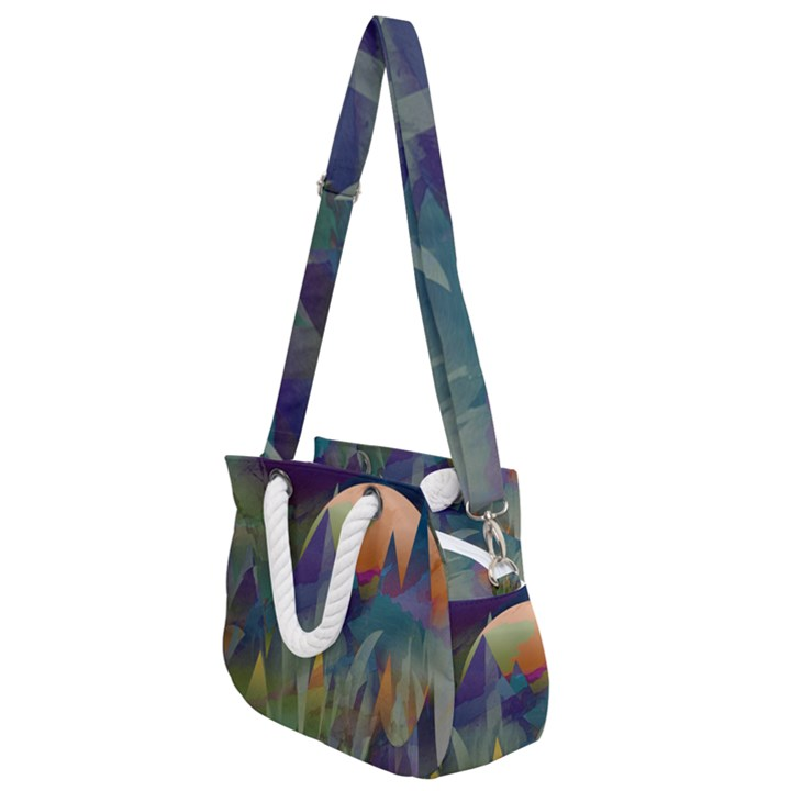 Mountains Abstract Mountain Range Rope Handles Shoulder Strap Bag