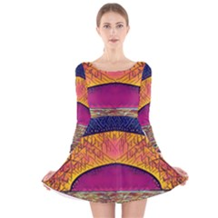 Abstract Sunrise Ocean Sunset Sky Long Sleeve Velvet Skater Dress