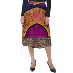 Abstract Sunrise Ocean Sunset Sky Classic Velour Midi Skirt