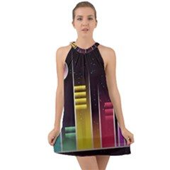 Illustrations Background Abstract Colors Halter Tie Back Chiffon Dress