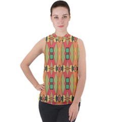 Pattern Orange Green African Mock Neck Chiffon Sleeveless Top