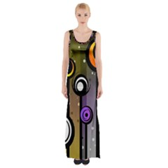 Abstract Flora Pinks Yellows Maxi Thigh Split Dress