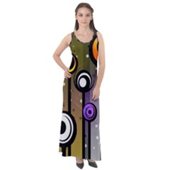Abstract Flora Pinks Yellows Sleeveless Velour Maxi Dress